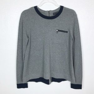 Rag & Bone Grey Cashmere Blend Back Zip Sweater